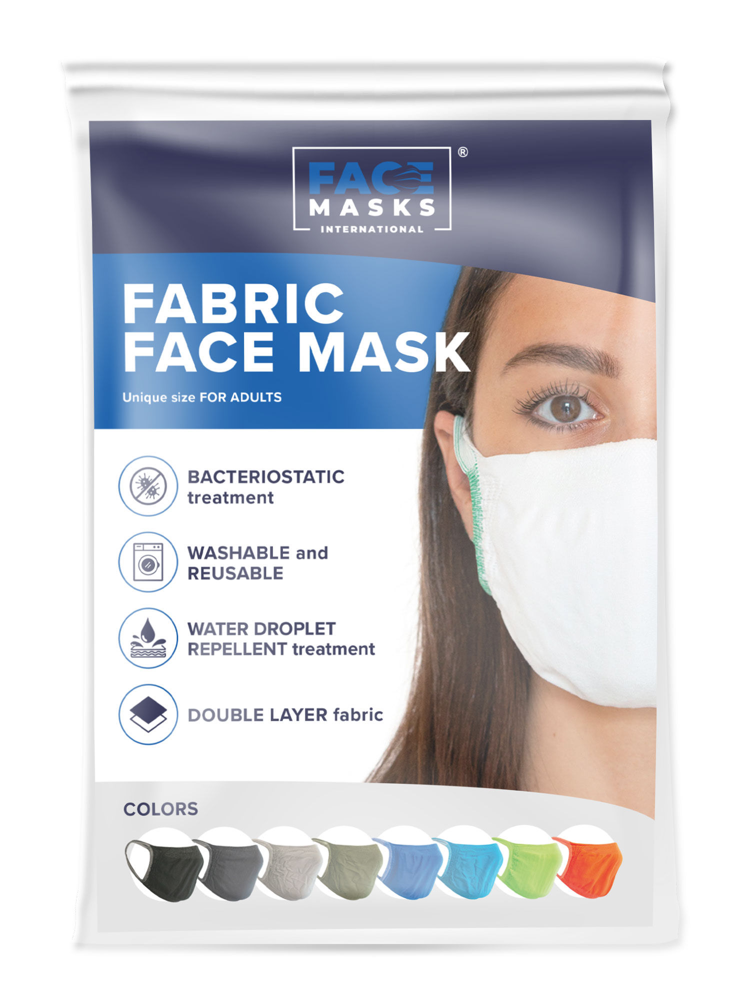 FMI Washable Reusable Face Mask / Covering Adult LIGHT GREY Antibacterial